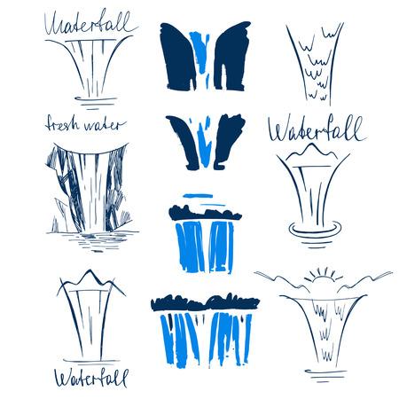 Conjunto de elementos del vector de línea de diseño cascadas naturaleza esbozo. dibujado a mano ilustración cascada azul sobre fondo blanco