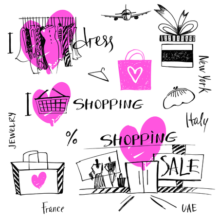 Vector set of hand-drawn for sale shopping and travel. Illustration i love shopping, discount, present, tour.