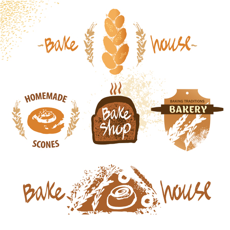 bake: vector for fresh bakery products from wheat and rye flour, decorated with ears of wheat. Draw by hand bread. Bake house. Bakery shop.