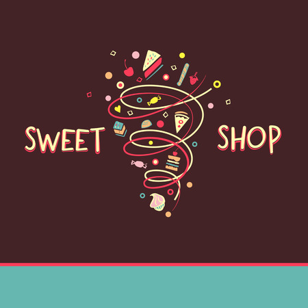 menu land: Vector template for confectionery and bakery. Candy store. Candy and cookies.