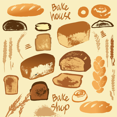 Set of illustration of bread for menu bake shop and house. Çizim
