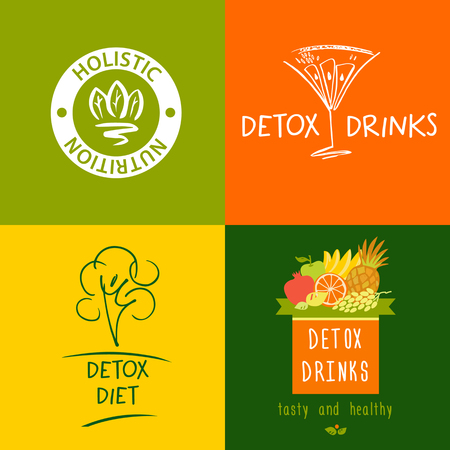 purification: Set of vector detox drink, diet and holistic nutrition on color background. Hand-drawn illustration for fresh health food and drinks in menu cafe, restaurant.