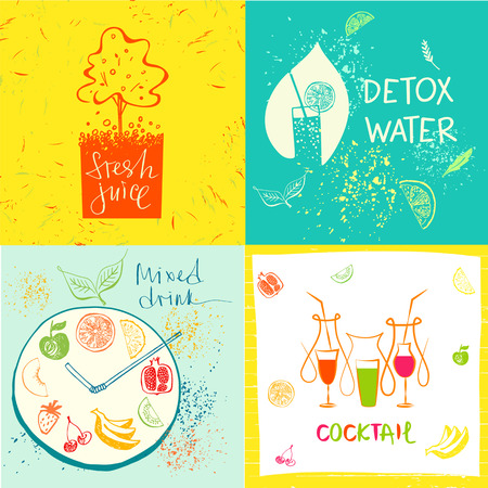 holistic health: Set of vector detox water drink, diet and holistic nutrition on color background. Hand-drawn illustration for fresh health juice and food in menu cafe, restaurant.