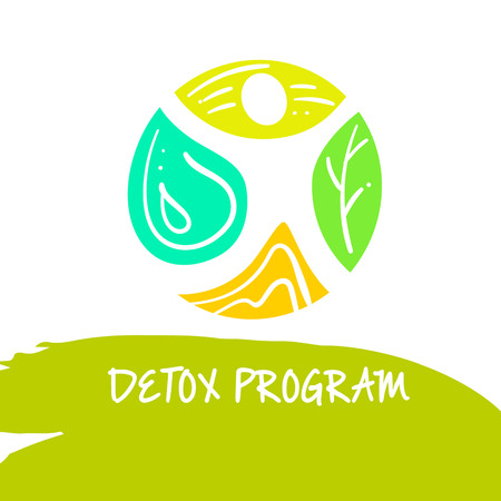 holistic health: Vector detox program, diet and holistic nutrition on white background. Hand-drawn illustration for fresh health food and drinks in cafe, restaurant.