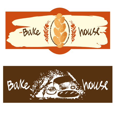 Color banner with for fresh bakery products from wheat and rye flour, decorated with ears of wheat. Draw by hand bread. Bake house. Bakery shop.