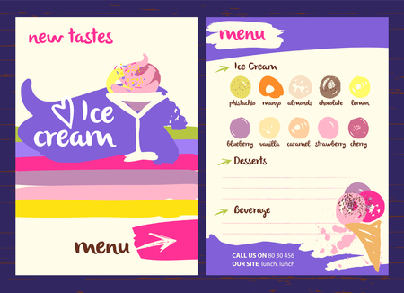Vector with very tasty new ice cream illustration. Different kinds sweet drinks and desserts with fruit flavors on a colored background in a restaurant or cafe menu. Illusztráció