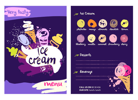 Vector with very tasty ice cream illustration. Different kinds sweet drinks and desserts with fruit flavors on a colored background in a restaurant or cafe menu.
