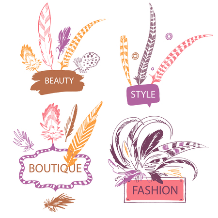 jewelry background: Set of color feather with frame. Hand drawn vector illustration. Isolated on white background. Design elements for shop fashion accessories, jewelry made of feathers.
