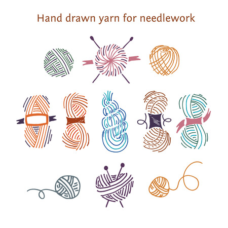yarns: Vector color set skeins of different forms. Outline style.Hand-drawn collection of yarns for needlework and knitting.
