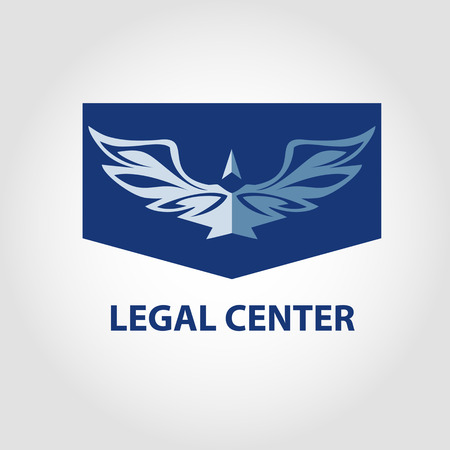 notary: Template vector logo for legal, notary organization. Illustration for jurist center. View eagle on blue background.