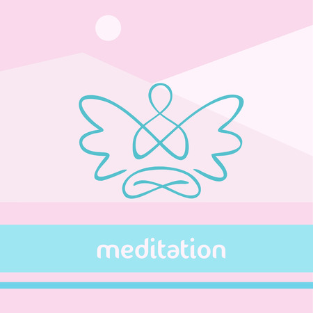 yoga meditation: Vector symbol of yoga, meditation, spirituality. Angel. Meditation on the background of the nature, the mountains