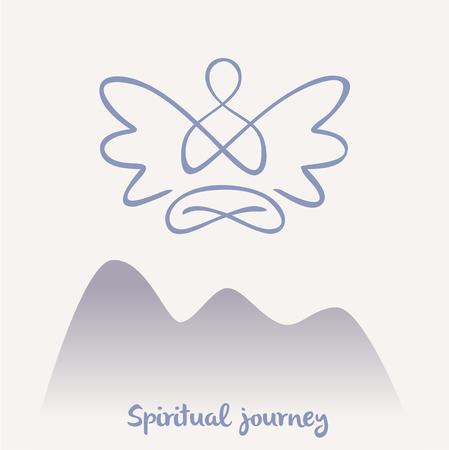 dessin au trait: symbole de Vecteur de yoga, méditation, spiritualité. Angel.Meditation sur un fond de nature, sentier de montagne. chemin spirituel.