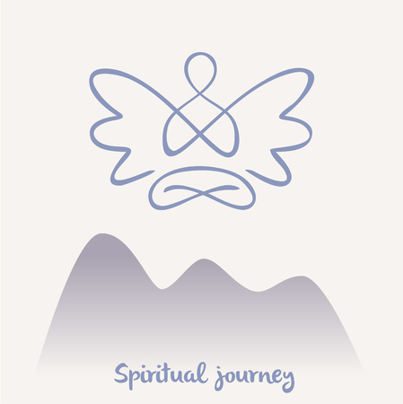outline drawing: Vector symbol of yoga, meditation, spirituality. Angel.Meditation on a background of nature, mountain trail. spiritual path.