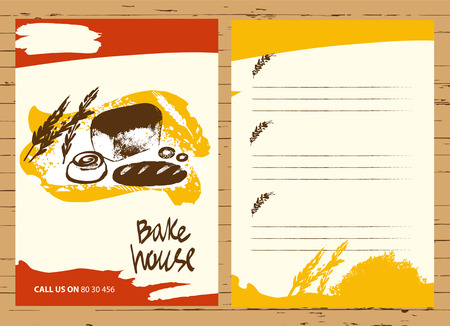 bake: Set of illustration of bread and roll for menu bake shop and house.