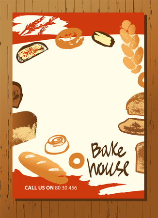 Set of illustration of hand drawn bread, bun and roll for menu bake shop and house. Çizim