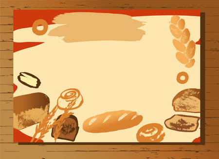 Set of illustration of hand drawn bread for menu bake shop and house. Stok Fotoğraf - 58524589