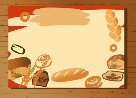 bake: Set of illustration of hand drawn bread for menu bake shop and house.