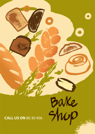 Set of illustration of bread and roll for menu bake shop and house on olive color background.