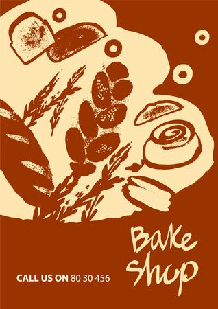 comida rica: Conjunto de la ilustración de pan para hornear menú de la tienda y casa sobre fondo rojo.