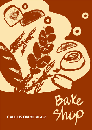 Set of illustration of bread for menu bake shop and house on red background.