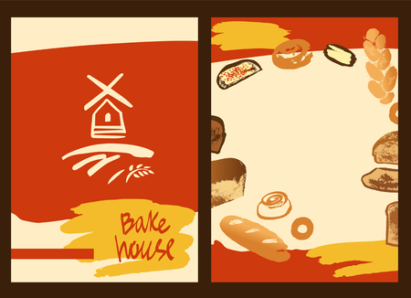 bake: Set of illustration of hand drawn bread, bun and roll for menu bake shop and house. Illustration