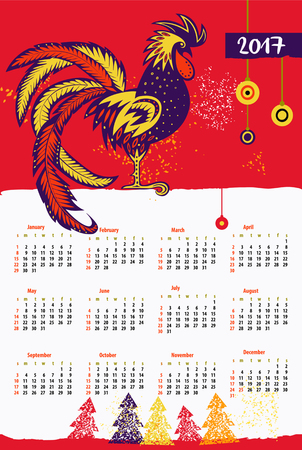 new years day: Calendar 2017 Chinese New Year of the Rooster . Vector Illustration with xmas tree.