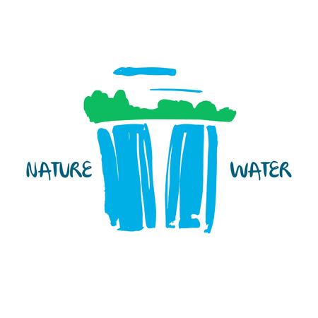 Vector de la insignia de la compañía de agua fresca. Dibujado a mano ilustración abstracta árbol verde, cascada azul, y la nube en el fondo blanco