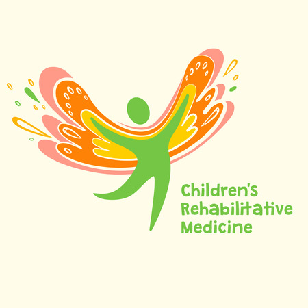child care: Childrens rehabilitation medicine. Vector logo depicting the silhouette of a healthy, happy child.