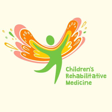 rehabilitation: Childrens rehabilitation medicine. Vector logo depicting the silhouette of a healthy, happy child.