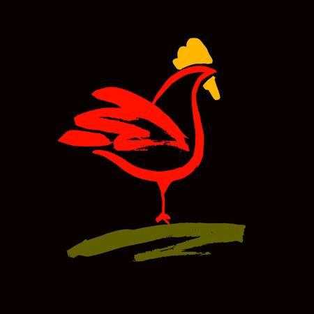 Vektor-Logo. Hahn. Produkte aus Hühnerfleisch und Eier. Gemalt Pinsel roten Hahn. Logo