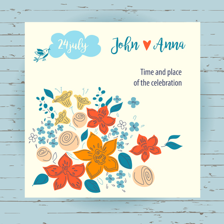 save time: Vector invitation card  for record date wedding on wood background. Hand drawn illustration save time and place party with color flowers.