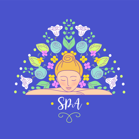 massage herbal: Vector logo with color hand drawn flower for ecology therapy center, spa resort, herbal massage. Illustration girl lay on her hands on blue background.