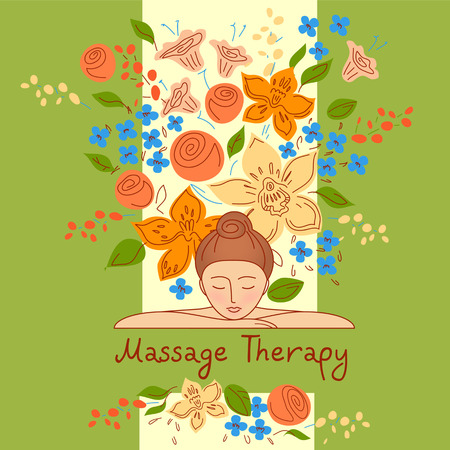 massage herbal: Vector logo with color hand drawn flower for ecology therapy center, spa resort, herbal massage. Illustration girl lay on her hands on green background.