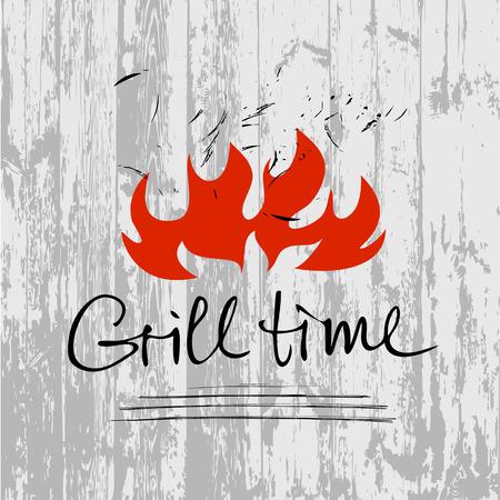 Vector dibujado a mano las letras logotipo con fuego en el fondo de madera gris. Ilustración para el partido del tiempo de la parrilla. Logotipo para restaurante y cafetería. Logos