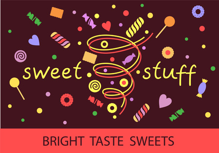 menu land: Logo template for confectionery, bakery. Candy store. Candy and cookies. Bright, festive style. Sweet stuff shop