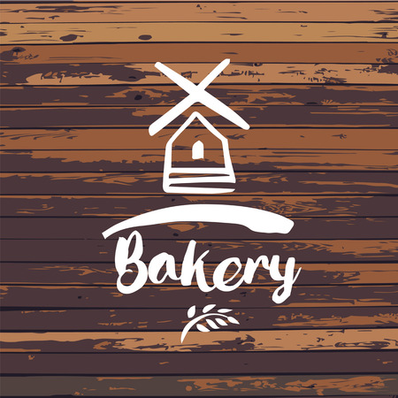 Old windmill, bakery design template. Vector illustration. Wood texture