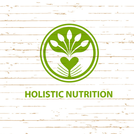 Vector logo detox diet and holistic nutrition on wood background.