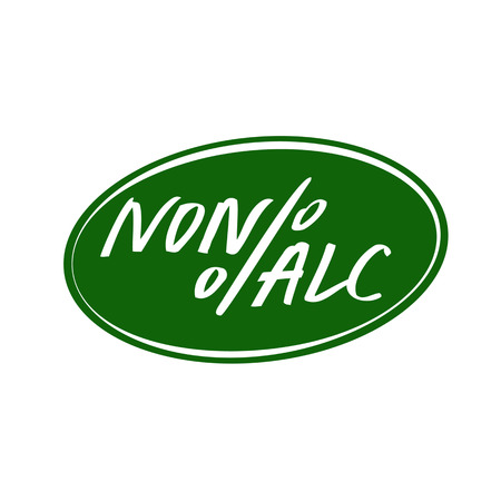nonalcoholic: Vector lettering emblem alcohol free for 0 percent beer. Illustration for bottle, for menu cafe, restaurant with non-alcoholic cocktail.