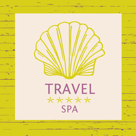 illustration for advertising: Design logo of cruise travel and spa on wood background. Hand drawn silhouettes logotype. Beach vacation in the tropics. Illustration for advertising tourism companies, tour operators.