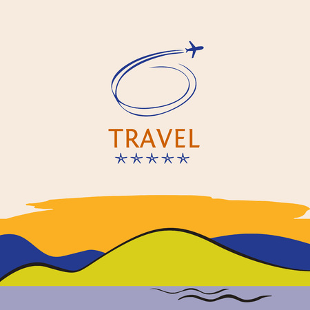 tropics: Design of cruise travel on color background. Hand drawn silhouettes of aircraft. Beach vacation in the tropics.