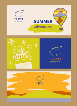 tropics: Design logo of cruise travel. Hand drawn silhouettes of aircraft. Beach vacation in the tropics. Illustration internet banner for advertising tourism companies, tour operators. Illustration