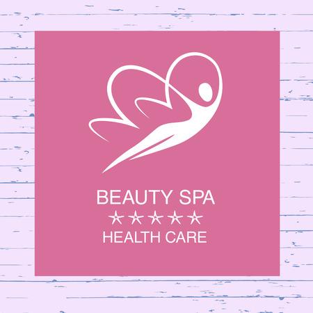 Vector Logo per spa, trattamenti estetici e rilassanti. Le donne farfalla. Società di identità logotipo. Bella e l'assistenza sanitaria.