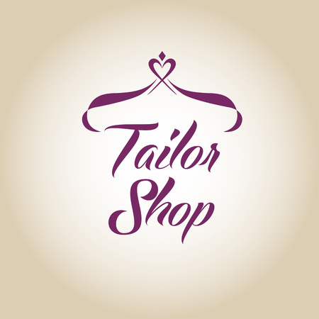 tailored: Vector logo on color gradient background for salon tailoring. Illustration for tailor shop with stylized heart and hanger.