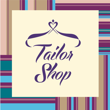 tailoring: Vector on white background for salon tailoring. Illustration for tailor shop with stylized heart and hanger.