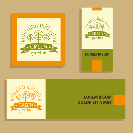 menu land: Hand drawn three fruit trees and the sun. Organic food, growing the crop. Lettering green garden. Vector corporate identity card for country village business. Illustration