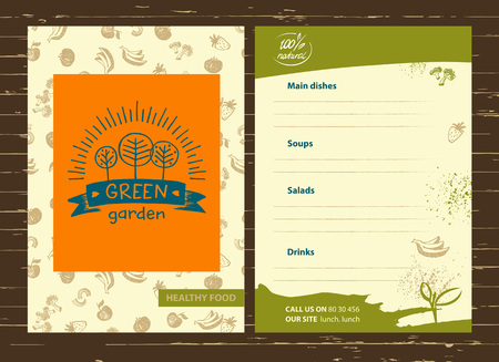 Hand drawn three fruit trees and the sun. Organic food, growing the crop. Lettering green garden. Vector menu for country village business.