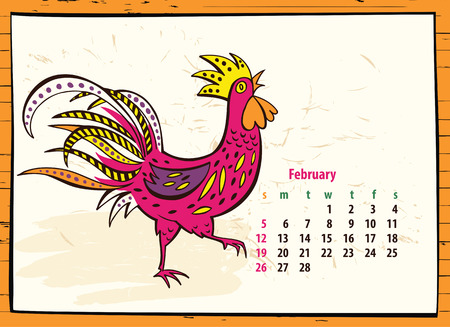 Calendar of 2017 Chinese New Year of the Rooster. Month february. Vector hand drawn color illustration rooster. Trendy color template for greeting , congratulations and invitations. Illustration