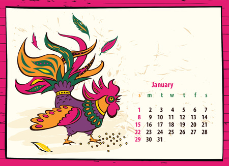 calendar of 2017 chinese new year of the rooster month january vector hand drawn
