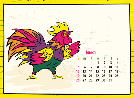event planner: Calendar of 2017 Chinese New Year of the Rooster. Month march. Vector hand drawn color illustration rooster. Trendy color template for greeting , congratulations and invitations.