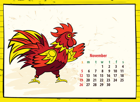 Calendar of 2017 Chinese New Year of the Rooster. Month november. Vector hand drawn color illustration rooster. Trendy color template for greeting , congratulations and invitations. Illustration